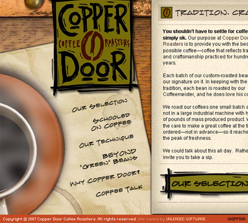 Coffee Websites - Copper Door Coffee