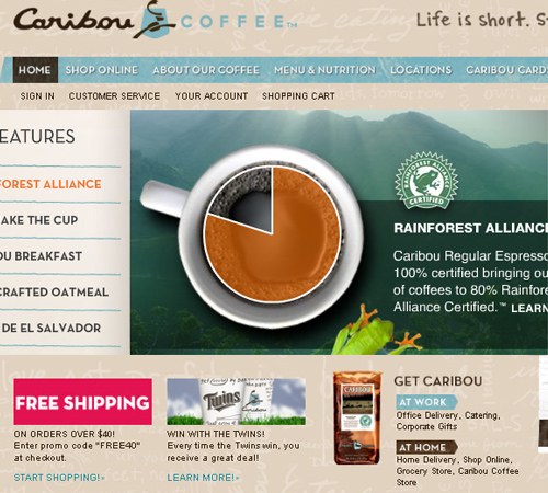 Coffee Websites - Caribou Coffee