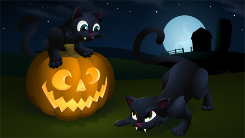 Halloween Desktop Wallpapers - Halloween Kitties