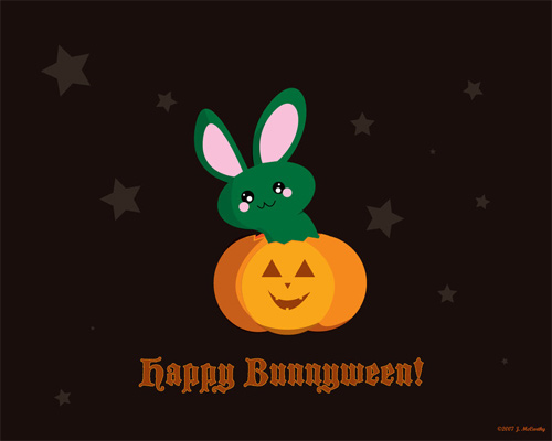 Halloween Desktop Wallpapers -  Happy Bunnyween