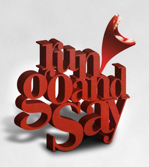 3d Typography Designs - Run Goand Say