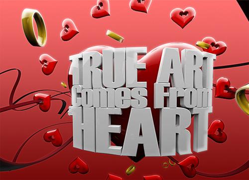 3d Typography Designs - True Art