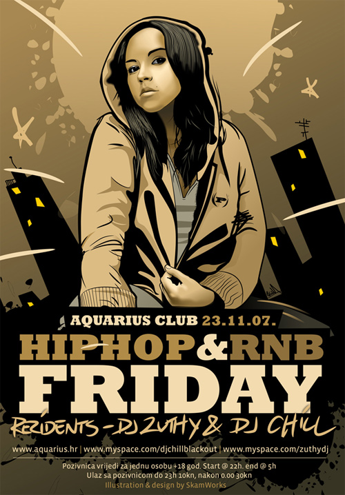 Flyer Design Ideas - Aquarius Hip Hop and RnB Flyer