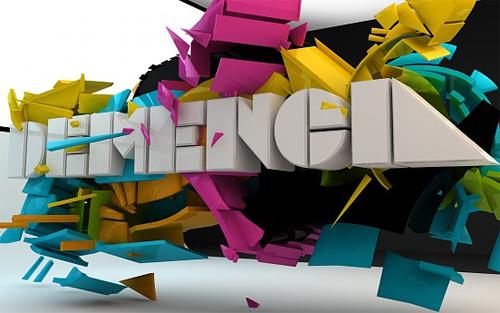 3d Typography Designs - Demencia