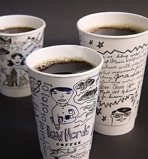 Coffee Cup Design - Brew Nerds and Kernal Kustard