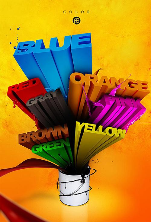 3d Typography Designs - Rainbow 2