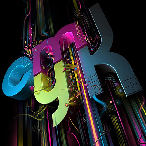 3d Typography Designs - CMYK