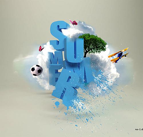 3d Typography Designs - Summer Blast