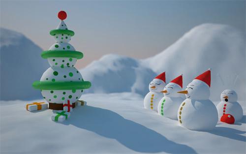 Free Christmas Desktop Wallpaper - Snowman Christmas