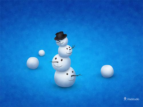 Free Christmas Desktop Wallpaper - Merry Snowman