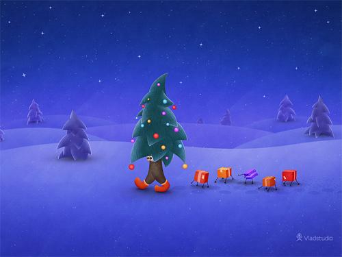 Free Christmas Desktop Wallpaper - The Traveling Christmas Tree