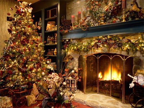 Free Christmas Desktop Wallpaper - Fireplace Wallpaper