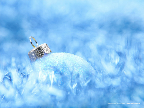 Free Christmas Desktop Wallpaper - Xmas Blue Globe