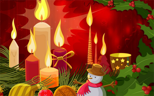 Free Christmas Desktop Wallpaper - Christmas Candles