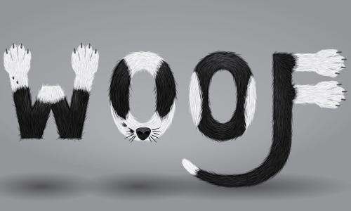 furry calligram in illustrator