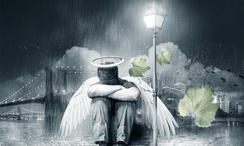 fallen rain soaked angel