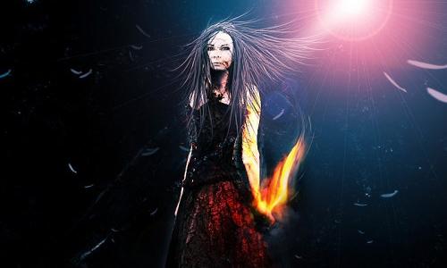 fiery burnt wood lady