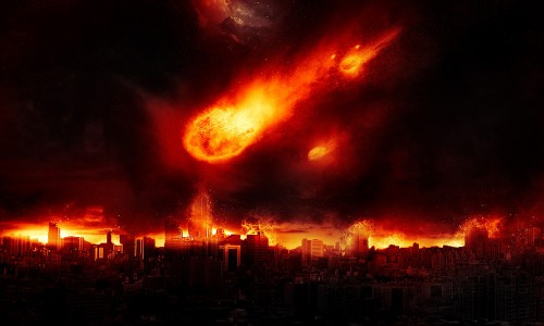 dramatic meteor burning city