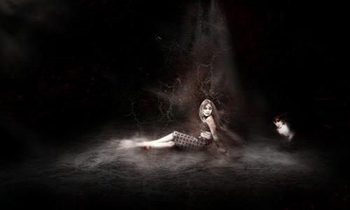 mysterious dark horror scene