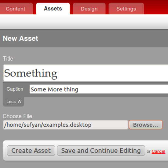Adding external Assets in Radiant CMS