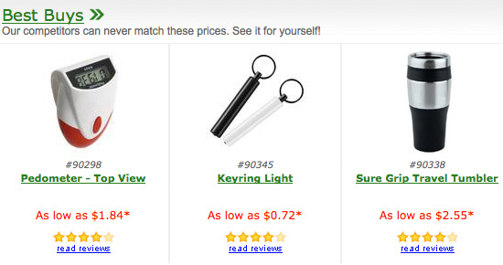 product search results, ratings and displays