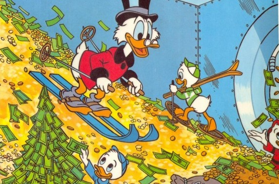The collective joy generated by seeing Scrooge McDuck swim and ski in money is probably worth more per coin than actual pennies, which actually manage to generate net negative value. Unfortunately, this isn't even a joke.