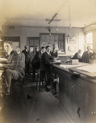 19th Century Office. Note that people either worked standing up, or on tall stools that  give you a position much closer to standing.