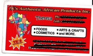 Bad business cards 02 - TKS  Authentic African Products