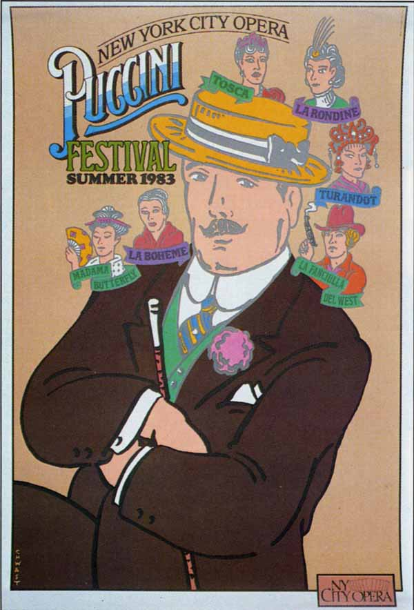 Puccini Festival Poster by Seymour Chwast via YouTheDesigner.com