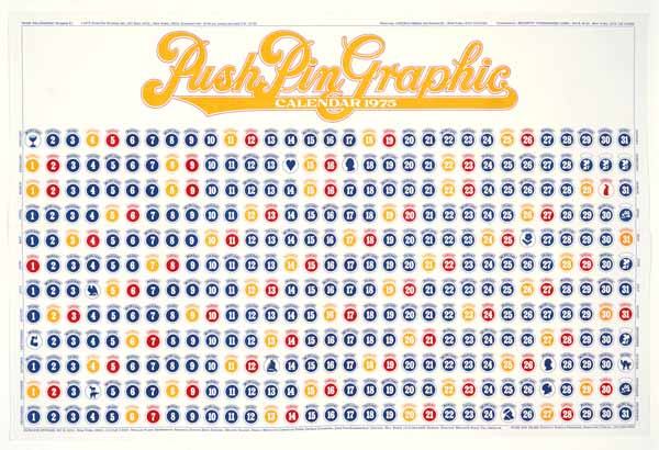 Push Pin Calendar 1975 by Seymour Chwast via YouTheDesigner.com