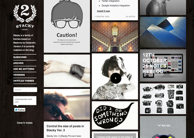 Tumblr Theme 02 by Andrew Stichbury via YouTheDesigner.com