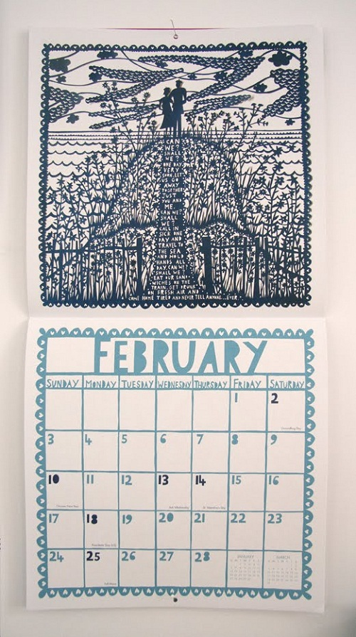 Calendar Design February by Rob Ryan via YouTheDesigner.com