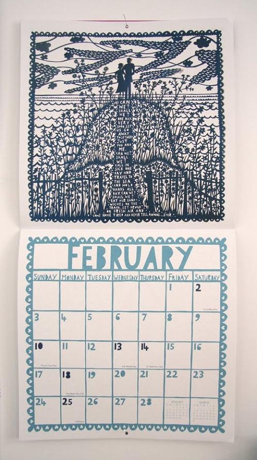 Calendar Design February by Rob Ryan via YouTheDesigner.com