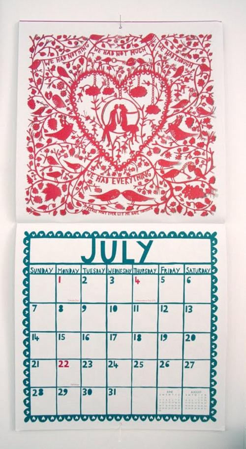 Calendar Design July by Rob Ryan via YouTheDesigner.com
