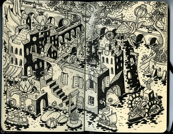Sketchbook Illustration by Oleg Tischenkov via YouTheDesigner.com