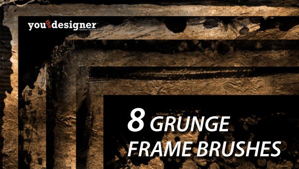 8 Grunge Frames Photoshop Brushes via YouTheDesigner