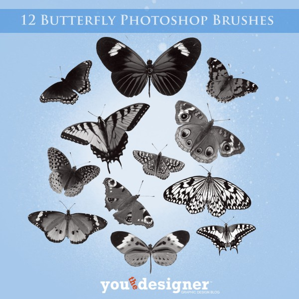 12 Butterfly Brushes by YouTheDesigner