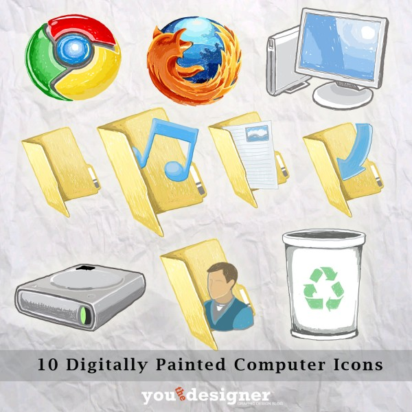 10 Digitally Drawn Computer Icons by YouTheDesigner