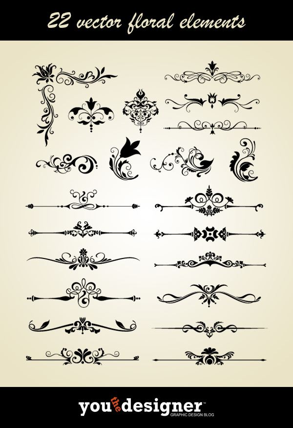 22 Vector Floral Elements by YouTheDesigner