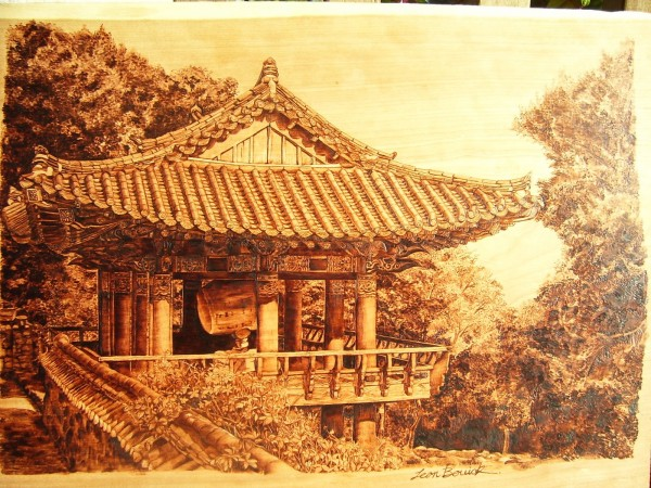 """Korea"" - pyrography by Jean Bouick"