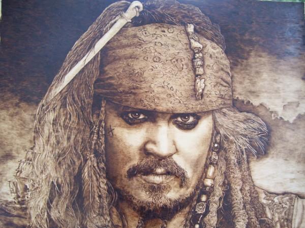 """Johnny Depp"" - pyrography by Jean Bouick"