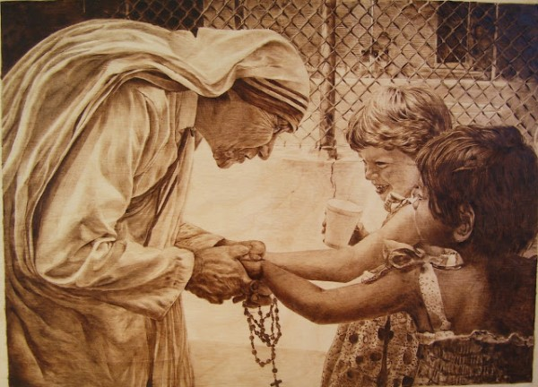 """Mother Theresa"" - pyrography by Jean Bouick"
