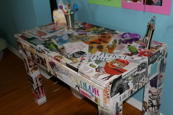 A decoupaged desk