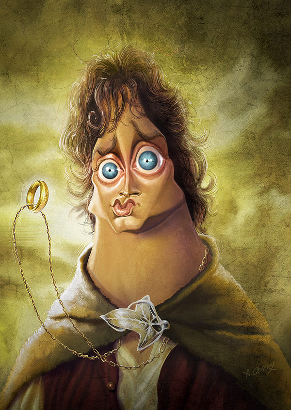 Frodo from LOTR - caricature by Anthony Geoffroy