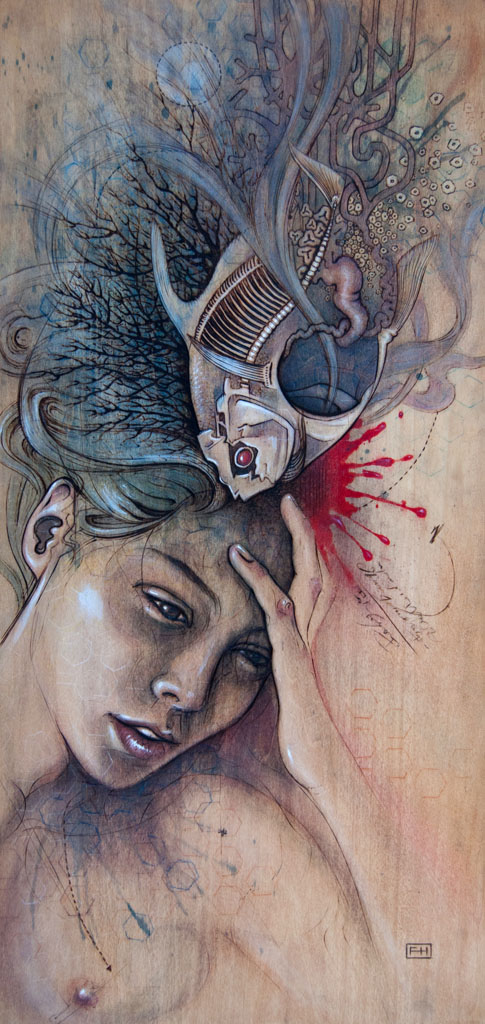 """Headache"" - pyrography by Fay Helfer"