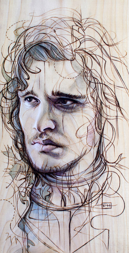 """Jon Snow"" - pyrography by Fay Helfer"
