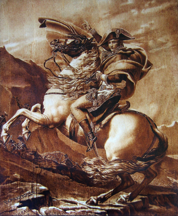 """Napoleon Crossing the Alps"" - pyrography by Muradino"