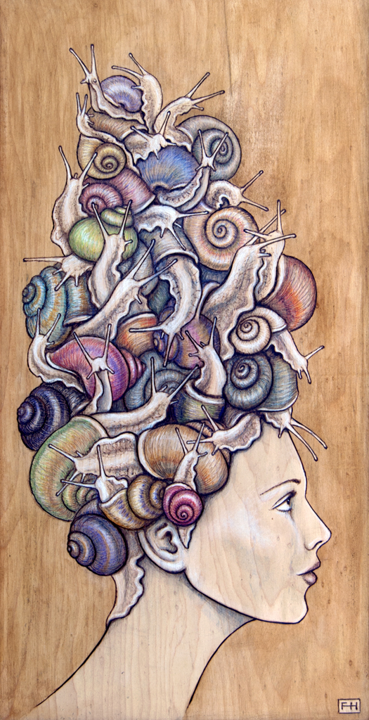 """Snail Do"" - pyrography by Fay Helfer"
