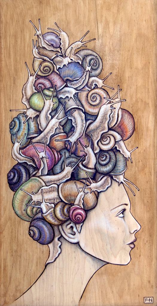 """""""Snail Do"""" - pyrography by Fay Helfer"""
