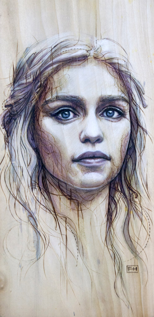"""Daenerys"" - pyrography by Fay Helfer"